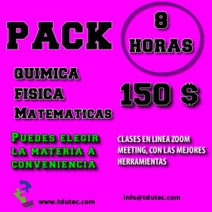 Pack 8 horas de clases particulares.